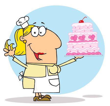 메이커:  Caucasian Cartoon Cake Maker Woman 일러스트