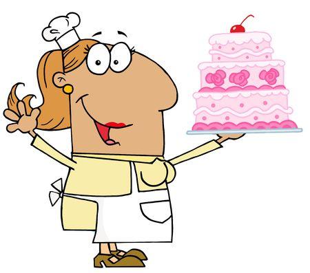 Tan Cartoon Cake Baker Woman