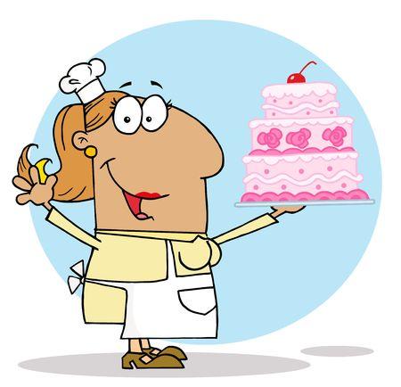 renderings: Tan Cartoon Cake Maker Woman