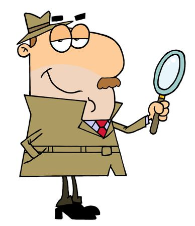 detective:  Caucasian Cartoon Detective Man