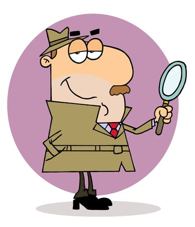 clue: Kaukasische cartoon detective man  Stock Illustratie