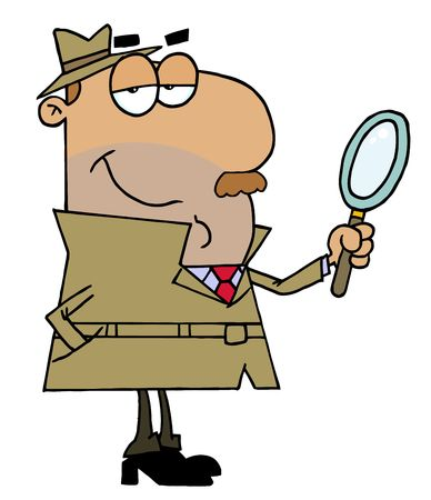 private investigator: Hispanic Cartoon Detective Man Illustration