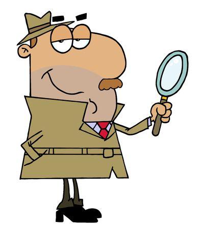 Hispanic Cartoon Detective Man Ilustracja