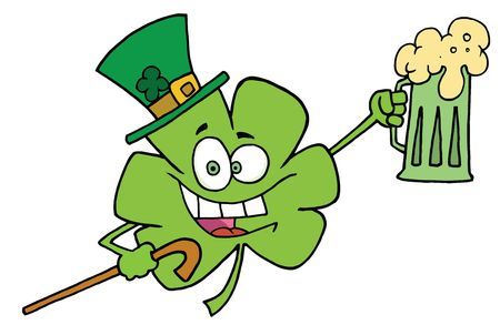 saint pattys day:  Partying Clover Character In A Green Hat, Carrying A Cane And A Mug Of Beer On St Patricks Day