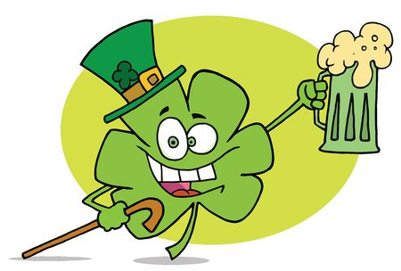 Shamrock Character In A Green Hat, Carrying A Cane And A Toasting With A Mug Of Beer On St Paddys Day