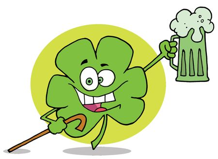 paddys: Happy Green Clover Leaf Cheering With A Mug Of Beer And Carrying A Cane On St Paddys Day