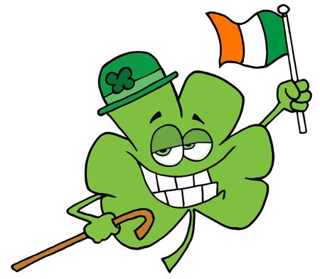 Clover Character Wearing A Green Hat, Holding A Cane And A Flag While Celebrating St Patricks Day Vector