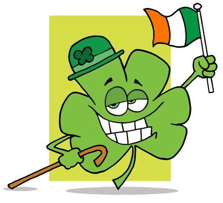 paddys:  Shamrock Character Wearing A Green Hat, Holding A Cane And A Flag, Celebrating St Paddys Day