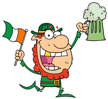 saint pattys day: Happy Leprechaun With A Golden Tooth, Running With Green Beer And An Irish Flag