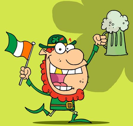 paddys: Happy Red Haired Leprechaun With A God Tooth, Dancing With A Flag And Mug Of Beer, On A Green Background Illustration