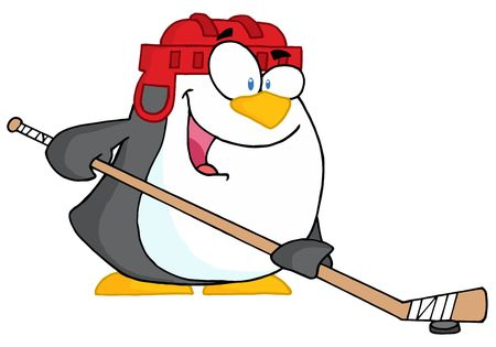 cartoon penguin:  Happy Penguin Playing Ice Hockey