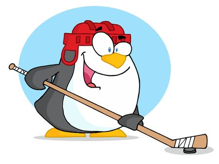 Sporty Penguin Playing Ice Hockey Vector