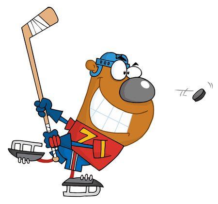 Grijnzende Bear spelen ijshockey