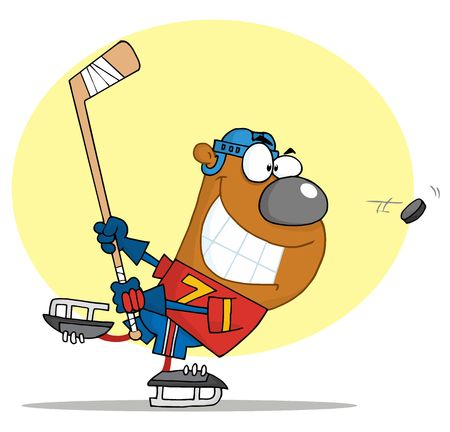 Sporty Bear Playing Ice Hockey Vector