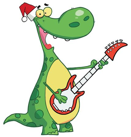 Dinosaur plays guitar with santa hat Vector