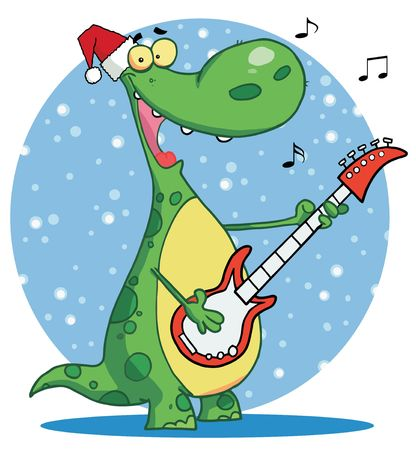 Dinosaur plays guitar with santa ha infront of a blue snowy circle Vector