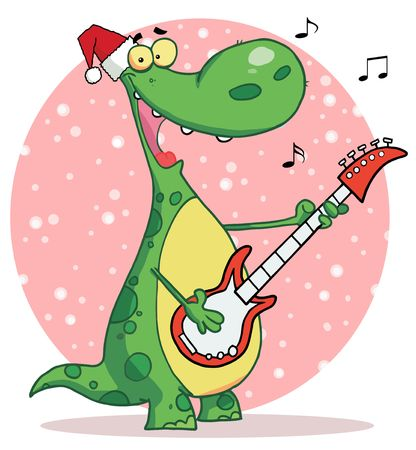 Singing Dinosaur Wearing A Santa Hat And Playing Christmas Music On A Guitar Over A Pink Snowy Oval