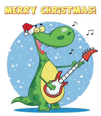 Dinosaur plays guitar with santa hat with merry christmas sign Vector