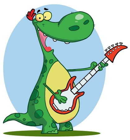 Dinosaur plays guitar Vector