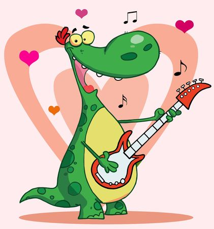 Happy dinosaur plays guitar with heart background