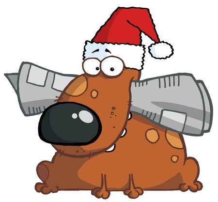 Dog holds newspaper in mouth with santa hat Vector