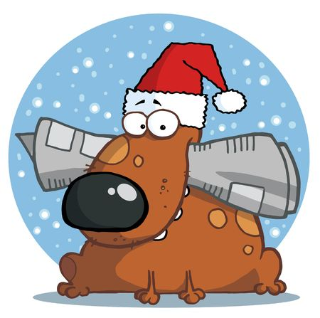 Dog holds newspaper in mouth with santa hat infront of blue snowy circle Vector
