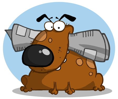 Brown dog holds newspaper in mouth Vector