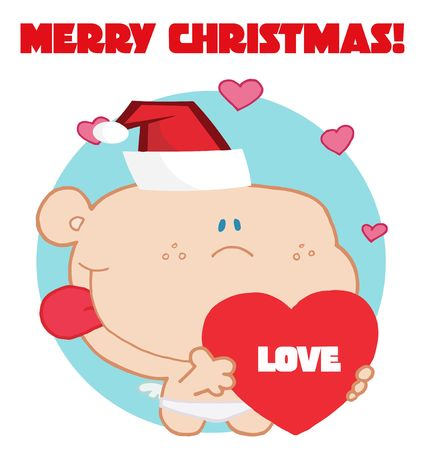 rt:   Romantic cupid with red love heart with merry christmas sign Illustration