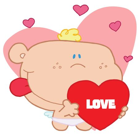 Romantic cupid with valentine hearts holding red love heart Stock Vector - 6905666