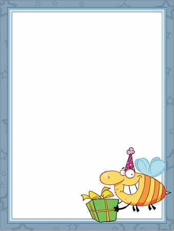 Bee Carrying A Birthday Present In The Corner Of A Stationery Background Or Blank Menu Çizim