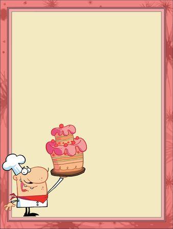 postres: Orgullosos de Cake de chef en el rinc�n de un fondo de papeler�a o men� en blanco