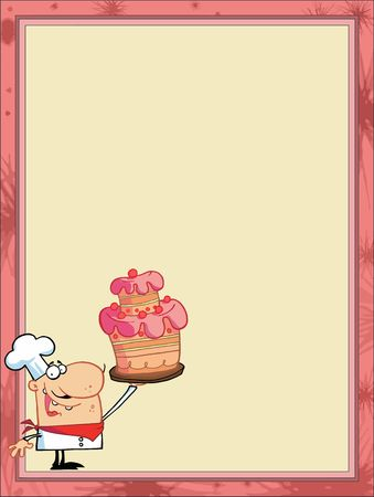 wedding cake: Proud Cake Chef In The Corner Of A Stationery Background Or Blank Menu Illustration