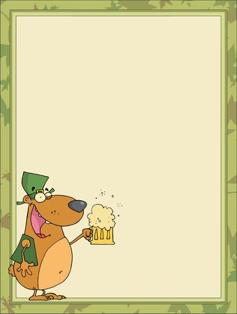 St Paddys Day Bear With A Frothy Beer, In The Corner Of A Stationery Background Or Blank Menu Vector