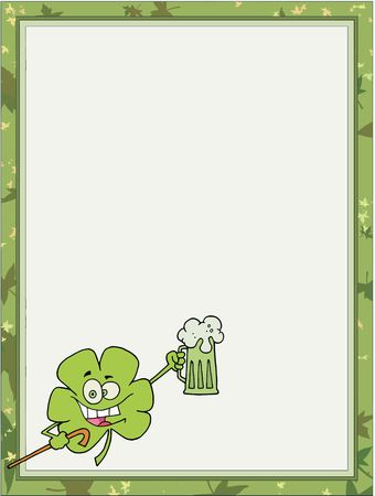 saint pattys day: St Paddys Day Clover Carrying A Cane And Holding Up A Beer, In The Corner Of A Stationery Background Or Blank Menu