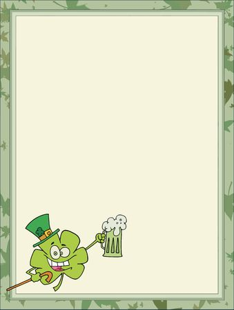 st paddys day: Day Clover Wearing A Hat And Holding Up A Beer, In The Corner Of A Stationery Background Or Blank Menu