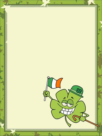 saint pattys day: Day Clover Wearing A Hat, Carrying A Cane And Flag, In The Corner Of A Stationery Background Or Blank Menu Illustration
