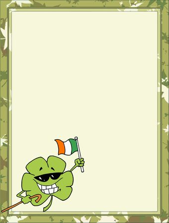 saint pattys day: St Paddys Day Clover Wearing Sunglasses, Carrying A Cane And Holding Up A Beer, In The Corner Of A Stationery Background Or Blank Menu