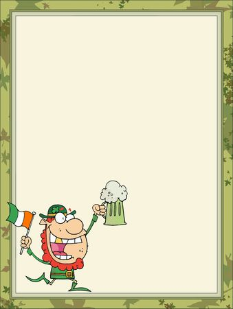 saint pattys day: St Paddys Day Leprechaun Running With A Beer And Flag, In The Corner Of A Stationery Background Or Blank Menu Illustration