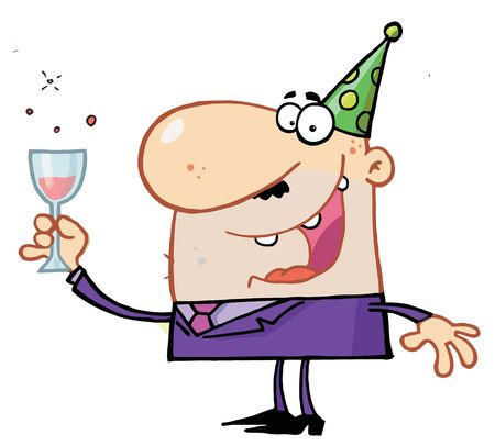 b day party: Man Toasting At A New Years Party Illustration