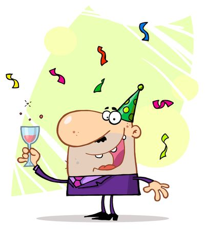 x mas party:  Man Toasting At A New Years Party Illustration