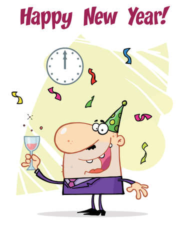 Happy New Year Greeting Of A Man Toasting At A Party Vector