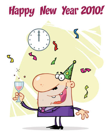 Happy New Year Greeting Of A Man Toasting At A Party Stock Vector - 6906578