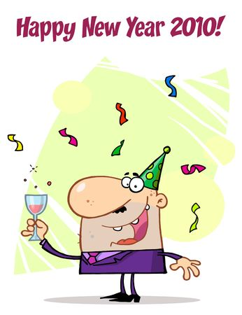 b days: Happy New Year Greeting Of A Man Toasting At A Party  Illustration