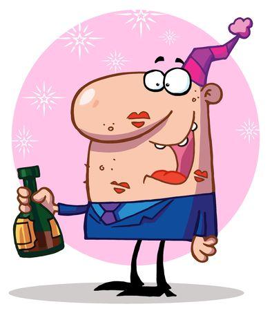 office party: Hombre feliz celebrando  Vectores