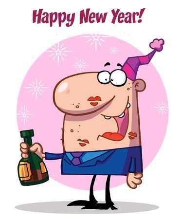 Man Celebrating Happy New Year Ilustrace
