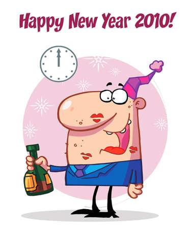 smooch: Hombre feliz celebrando Happy New Year 2010