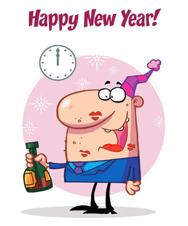 new year party: Happy Man Celebrating Happy New Year Illustration