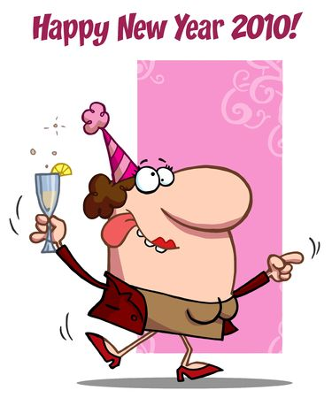 bachelorette: Happy New Year 2010 Greeting Of A Drunk Dancing Woman Holding Bubbly At A Party Illustration