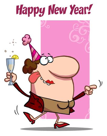 b day parties:  Happy New Year Greeting Of A Drunk Dancing Woman Holding Bubbly At A Party