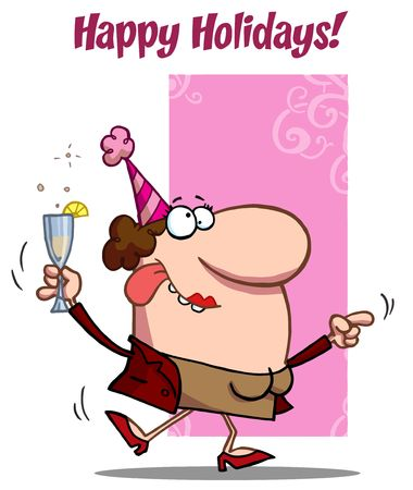 Happy Holidays Greeting Of A Drunk Dancing Woman Holding Bubbly At A Party